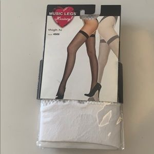 Hosiery white fishnet thigh high